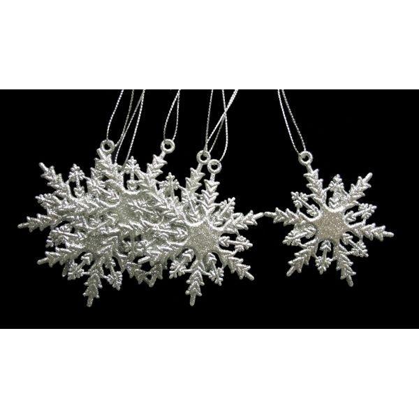 Набор из 6-ти новогодних украшений Снежинка, 6x0.1x6.8 см