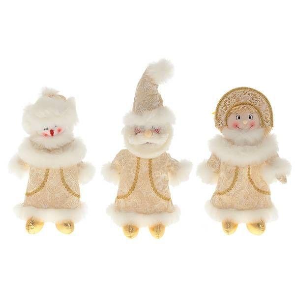 Мешок для подарков Дед Мороз, Снеговик, Снегурочка, H35 см, 3 в.