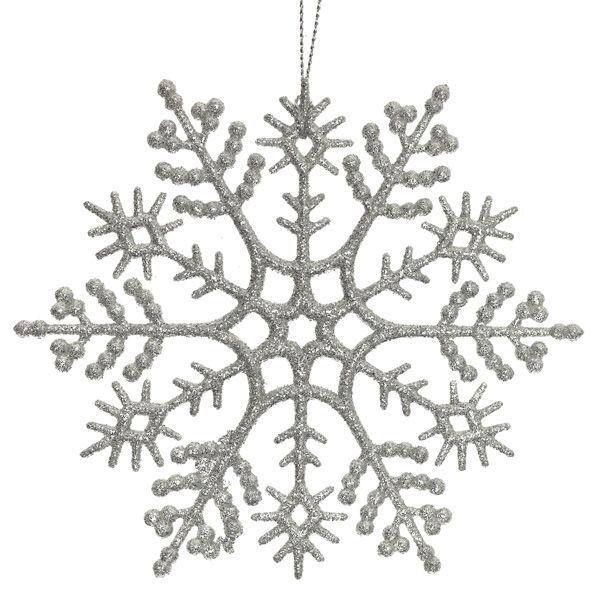 Новогоднее украшение Снежинка серебряная, набор из 8 шт.