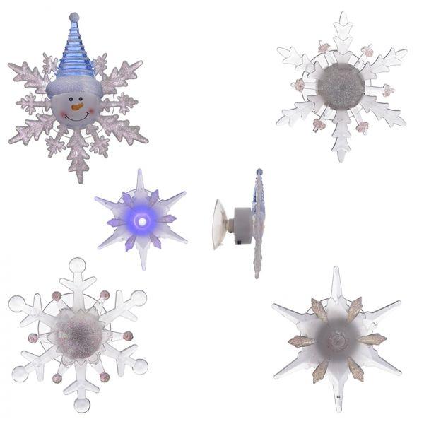 Фигурка декоративная с подсветкой Снежинка на присоске L10 W5 H11 см, 4 в. (3хLR44, не прилаг)