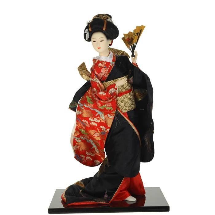 Asian oriental figurine hand painted geisha girl kneeling with