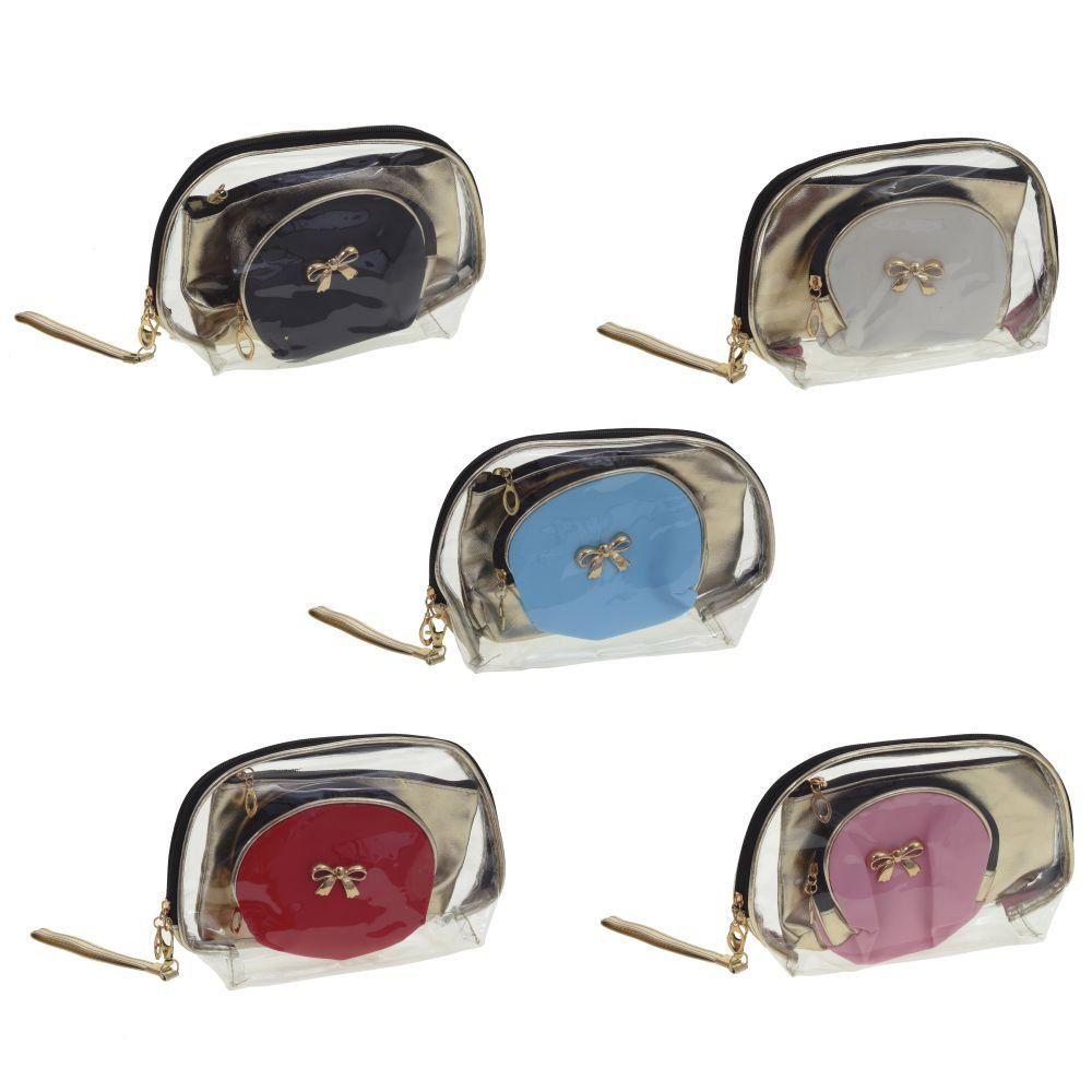 Косметичка, набор из 3-х шт , L25/20,5/14 W8/3/4,5 H16/12/10 см, 5 в.