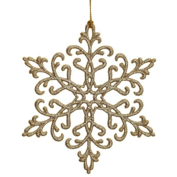 Новогоднее украшение Снежинка золотая, набор из 8 шт.