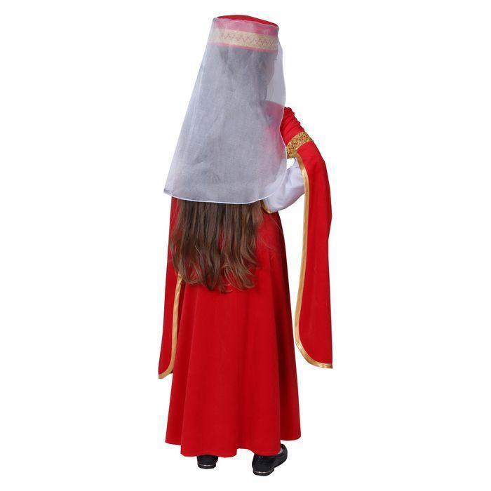 Карнавальный костюм для лезгинки, для девочки: головной убор, платье, р-р 30, рост 110-116 см, цвет красный