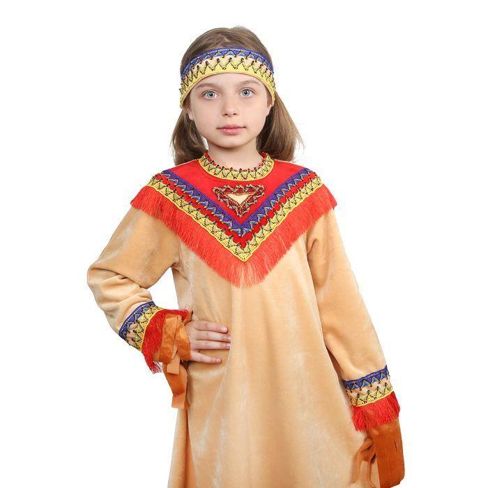 """Карнавальный костюм""""Индеец девочка""""платье,гол.убор,32рост122-128"""