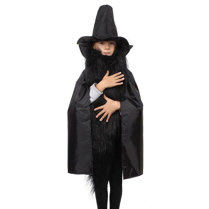 """Детский карнавальный костюм """"Карабас-Барабас"""": шляпа, плащ, борода, на рост 122-134 см"""