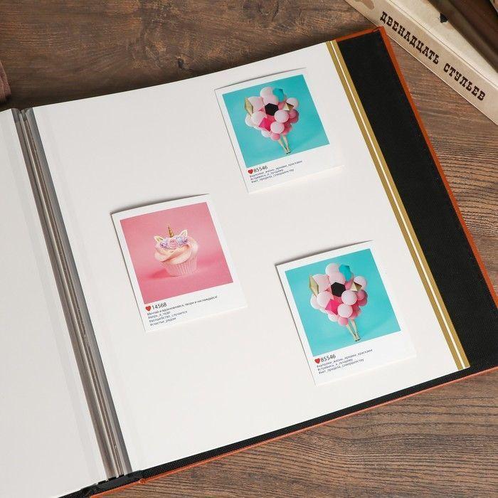 """Фотоальбом магнитный 20 листов """"Ломанные линии"""" жёлто-розовый кожзам, в коробке 34х33х5 см"""