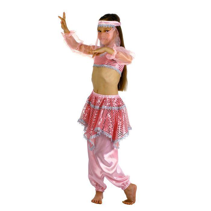 """Карнавальный костюм """"Ясмин"""", повязка, топ с рукавами, штаны, цвет розовый, р-р 28, рост 98-104 см"""
