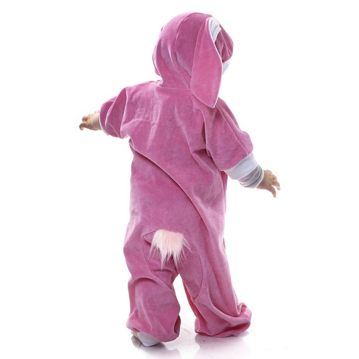 """Карнавальный комбинезон для самых маленьких """"Зайка розовый"""", велюр, рост 68-92 см, игрушка виды"""