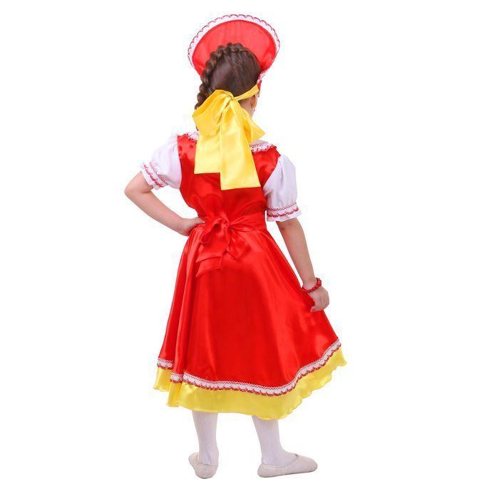 Русский костюм для девочки: платье с кокеткой, кокошник, р-р 56, рост 98-104 см, цвет красный