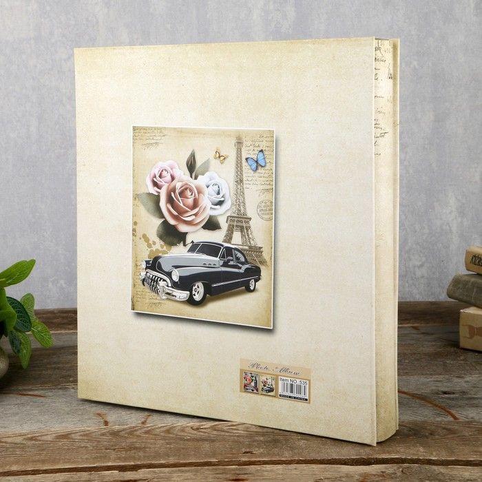 "Фотоальбом на 500 фото 10х15 см ""Башня, автомобиль и цветы"" в коробке33,5х30х5,5 см"