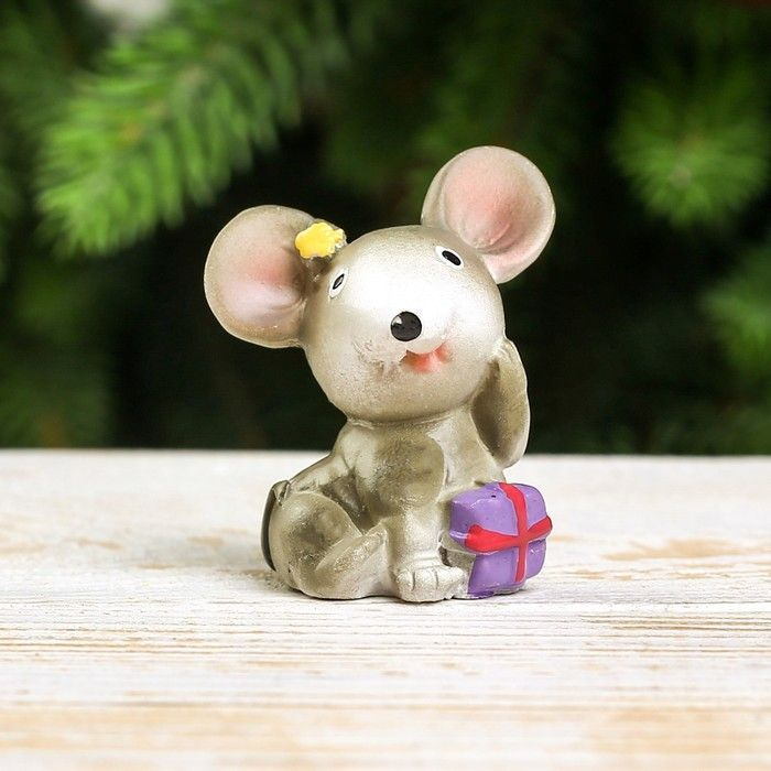 "Сувенир полистоун ""Мышка с бантиком""4х3,5х2,5 см"