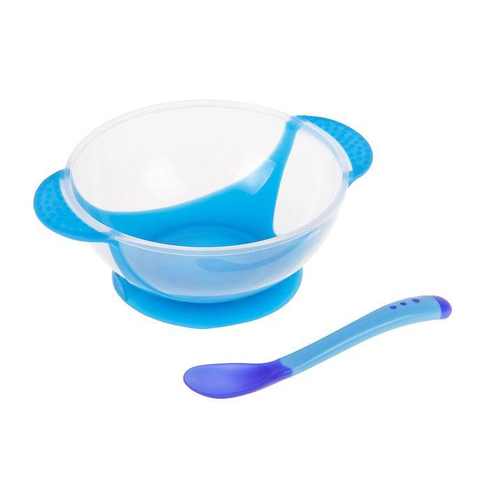 Набор для кормления, 3 предмета: тарелка на присоске 400 мл, крышка, ложка, цвет синий