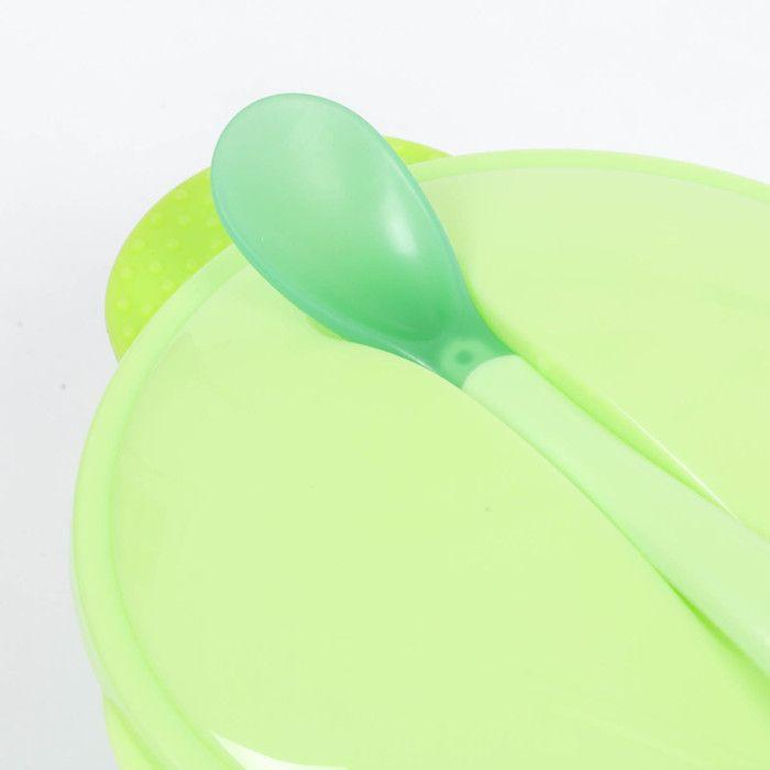 Набор для кормления, 3 предмета: миска 350 мл на присоске, крышка, ложка, цвет зелёный