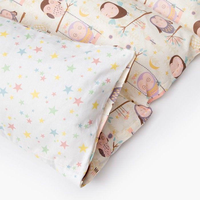 Матрасик с подушками «Совы» двусторонний 70×190 см, бязь/спанбонд