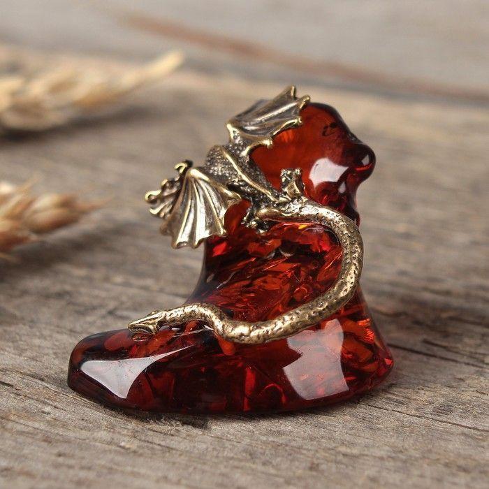 """Сувенир из латуни и янтаря """"Дракон"""""""