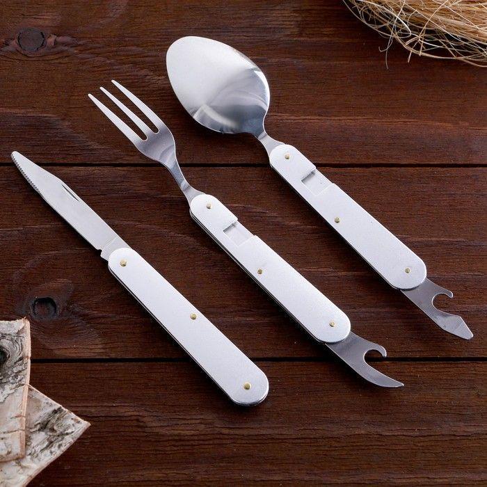 Набор туриста 5 в 1: нож, ложка, вилка, открывалка, пилка