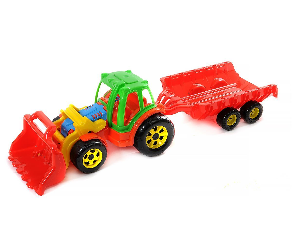 Трактор большой с прицепом и ковшом