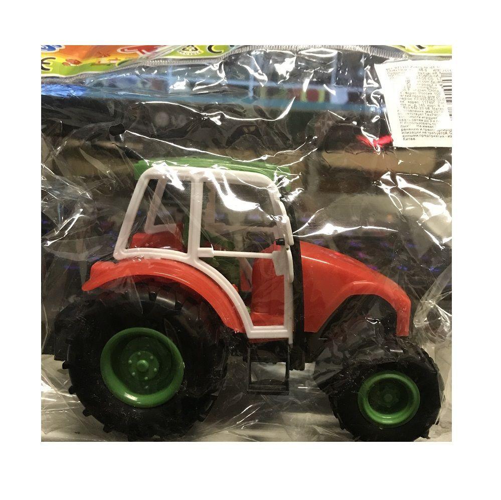 Инерционный трактор с водителем, с красным капотом