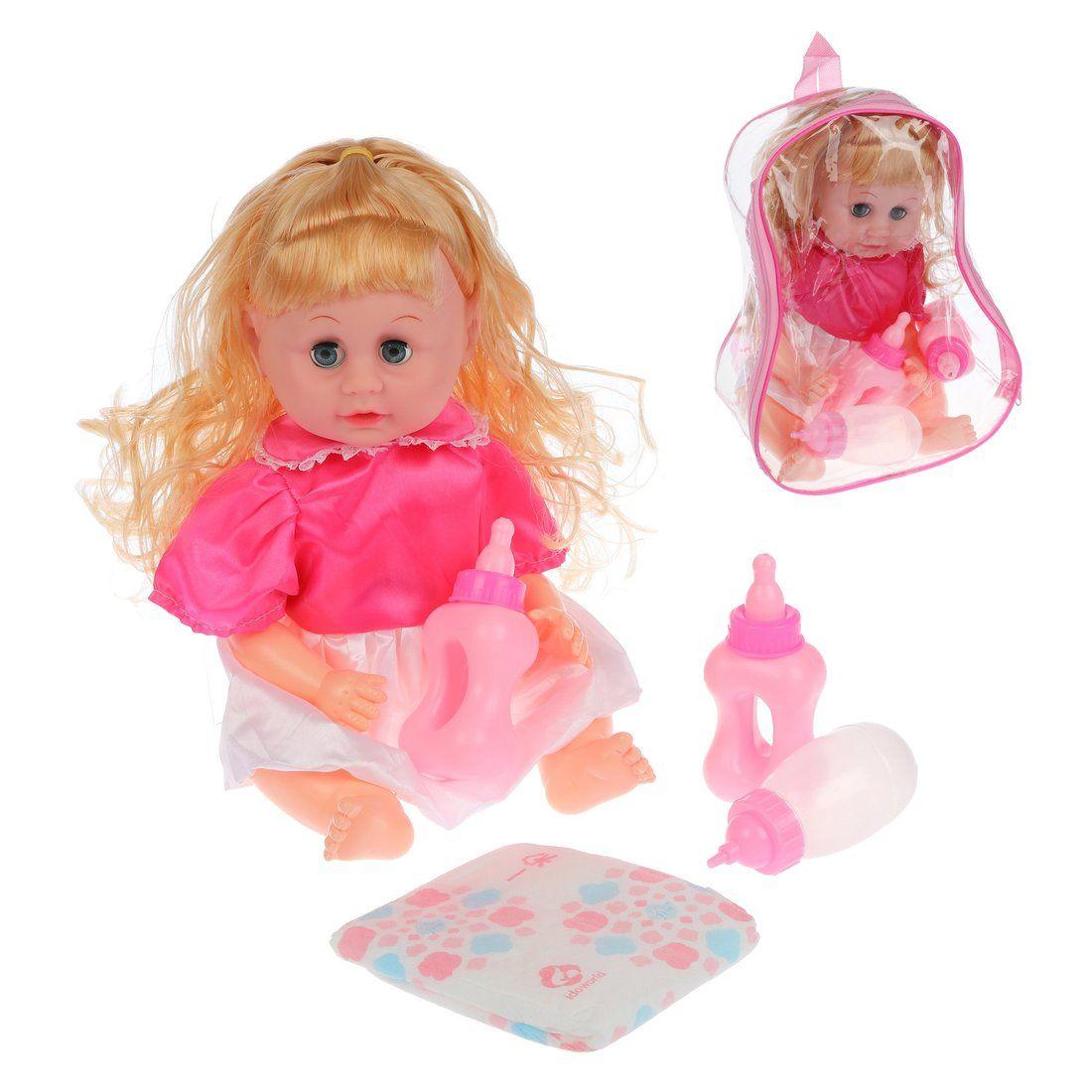 Кукла 35 см, пьет, писает, 4 аксесс