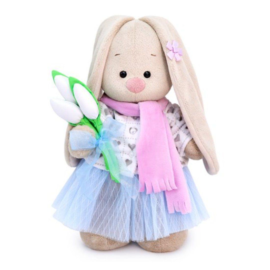 """Мягкая игрушка """"Зайка Ми с белыми тюльпанами"""", 15 см"""