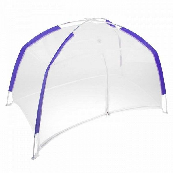 Манеж-палатка для ребенка с москитной сеткой на молнии, бело-синяя