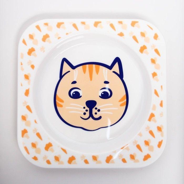 Тарелочка детская для вторых блюд «Веселый поваренок Котенок»