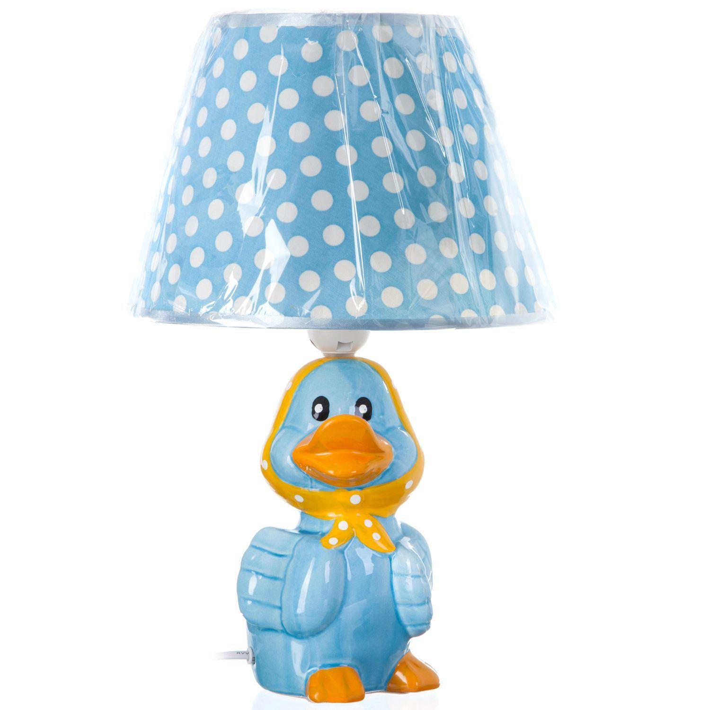 """Детская настольная лампа """"Утенок"""", голубая, 37 см"""