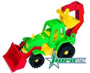 Трактор Ижора с грейдером и ковшом