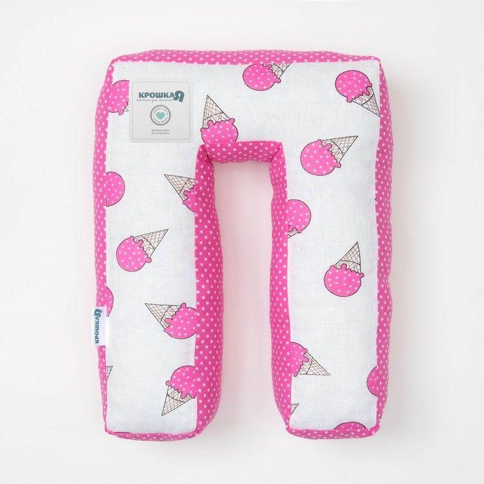 "Мягкая буква подушка ""П"" 35х26 см, розовый, 100% хлопок, холлофайбер"