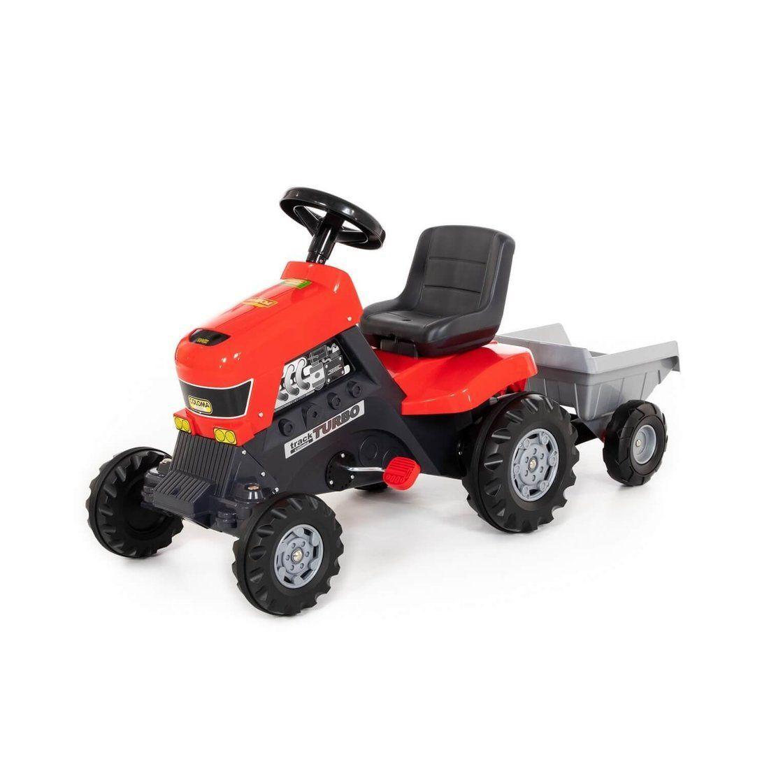 Каталка-трактор с педалями Turbo с полуприцепом