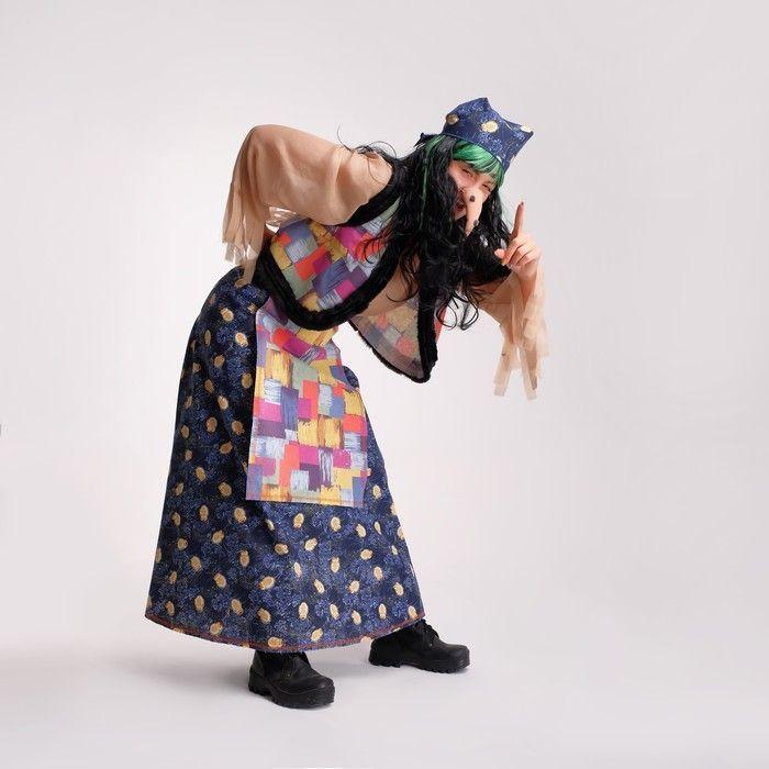 "Костюм""Баба-Яга""женский,платок,блузка беж,жилетка с мехом,юбка,фартук,парик,нос Р-р 48-50"