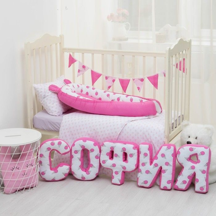 "Мягкая буква подушка ""Ф"" 35х33 см, розовый, 100% хлопок, холлофайбер"