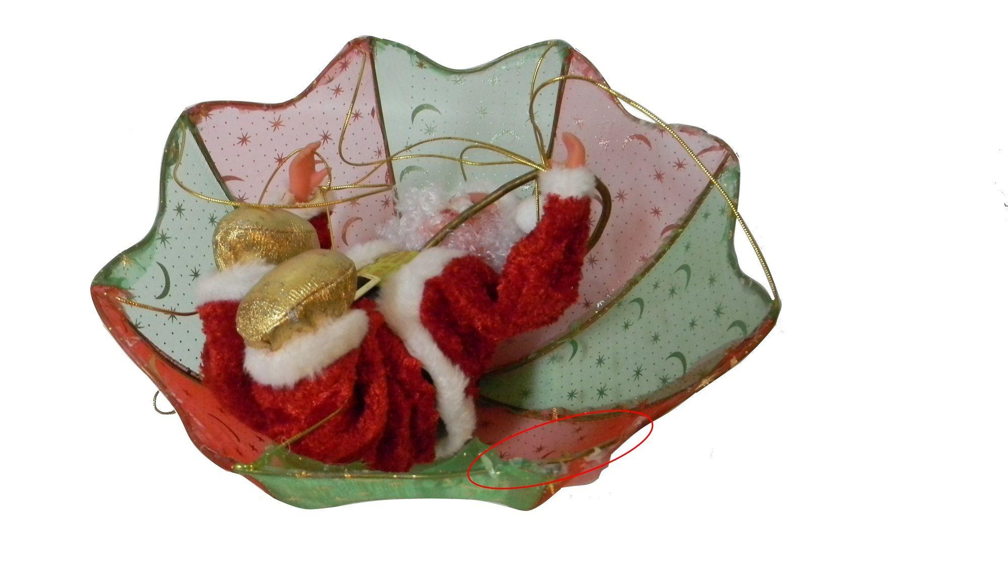 """Музыкальная игрушка """"Дед Мороз на парашюте"""", 28 см"""