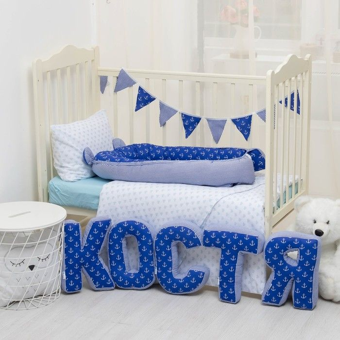 "Мягкая буква подушка ""Т"" 35х29 см, синий, 100% хлопок, холлофайбер"
