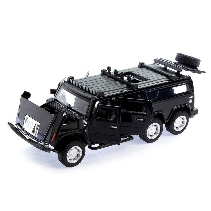 Машина металлическая «Джип», открываются двери, капот, багажник, инерция, цвет чёрный