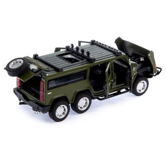 Машина металлическая «Джип», открываются двери, капот, багажник, инерция, цвет зелёный
