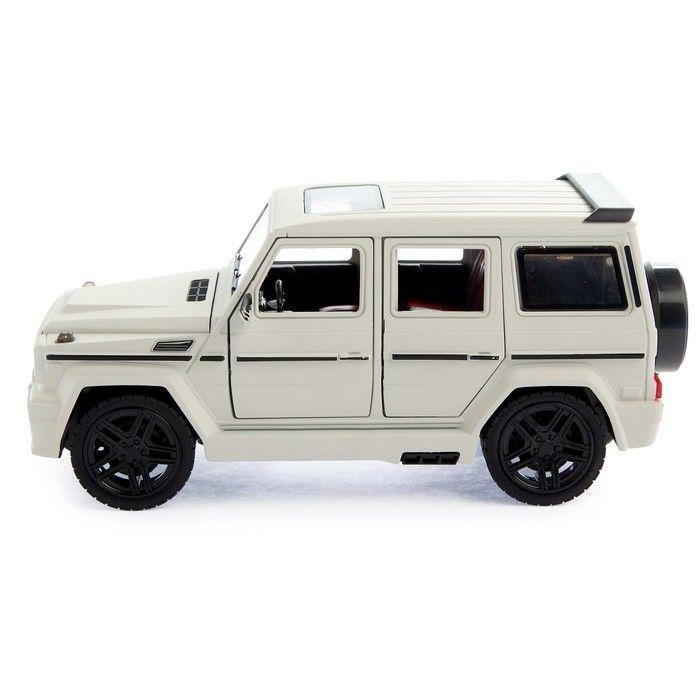 Машина металлическая «Джип», открываются двери, капот, багажник, инерция, цвет белый матовый