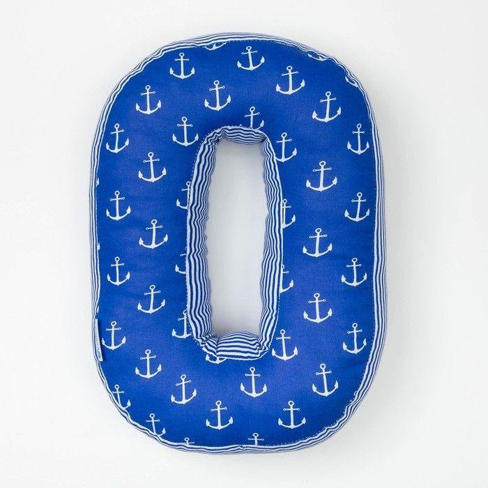 "Мягкая буква подушка ""О"" 35х24 см, синий, 100% хлопок, холлофайбер"