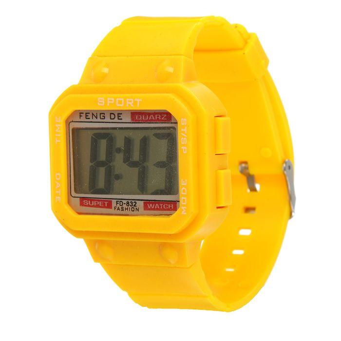 Часы наручные электронные, ремешок силикон, циферблат прямоугольник 2.5х3 см