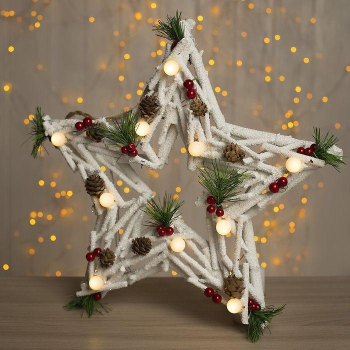"""Фигура дерев """"Звезда из белых веток"""" 40х6х40 см (3xAA не в компл.) 10 LED, ТЕПЛО-БЕЛЫЙ"""