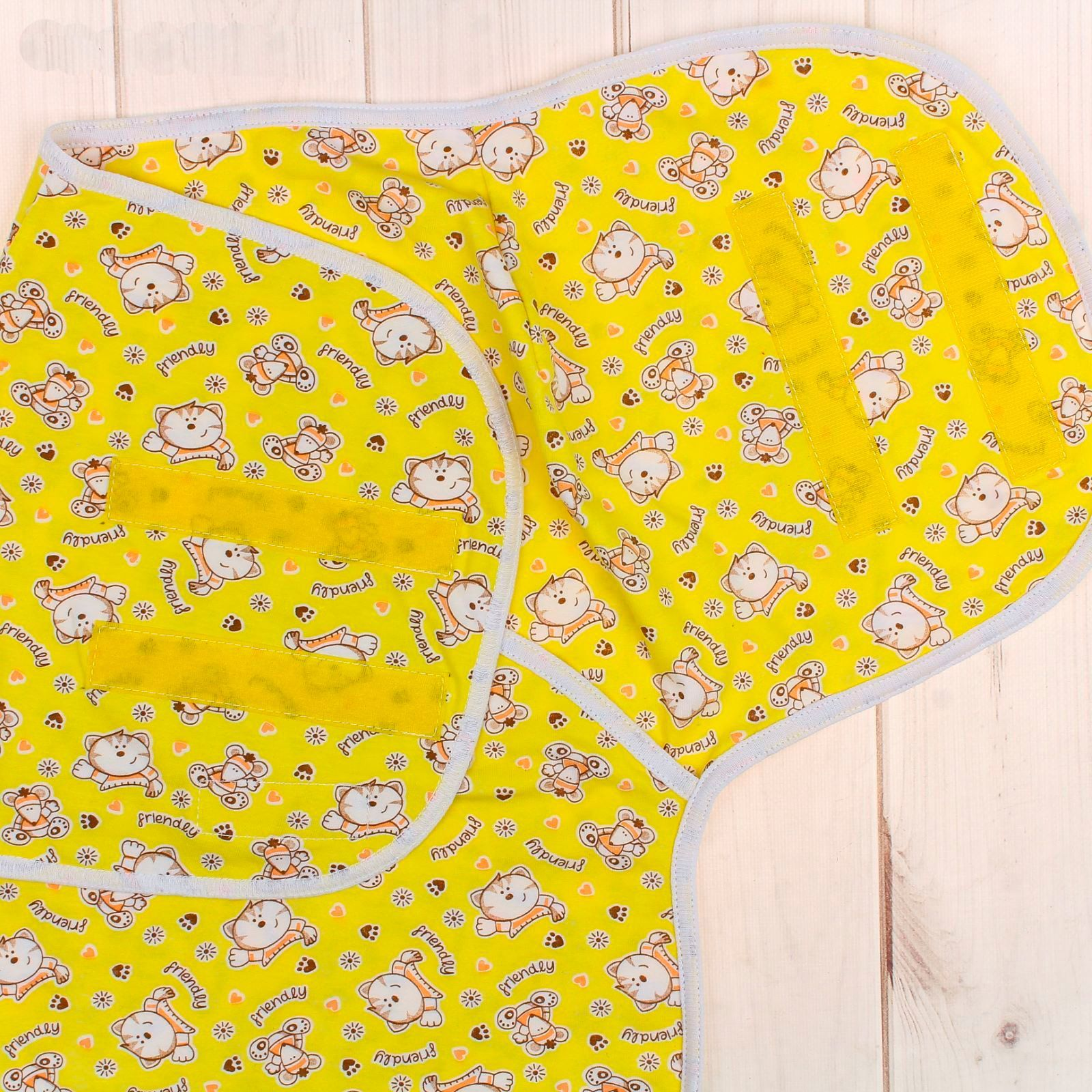 Пеленка-кокон на липучках, желтая, 50-68 см