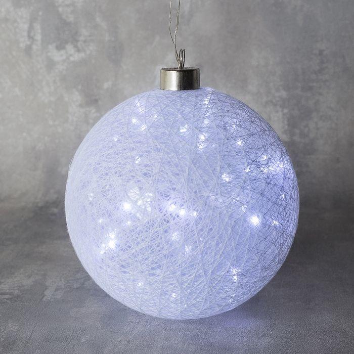 """Фигура """"Шар плетеный"""" 15 см, 50 LED-12V, нить белая, адаптер в комплекте, БЕЛЫЙ"""