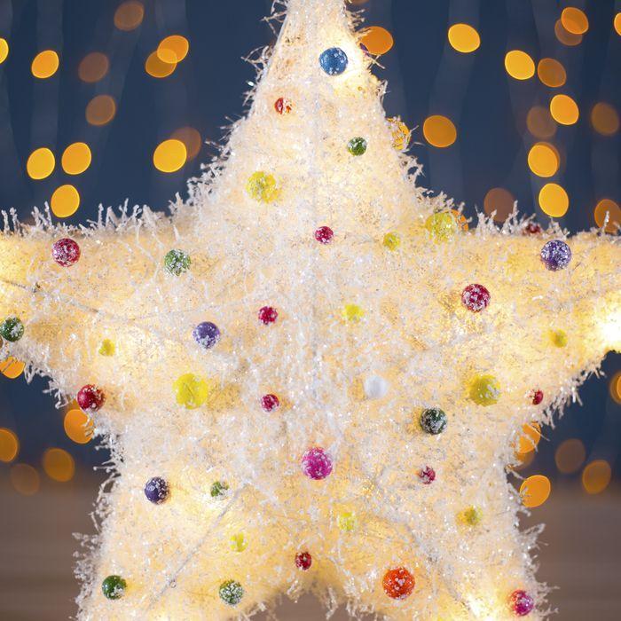 "Фигура новогодняя ""Звезда с шариками"", 10 LED, 36 х 8 см, от батареек (не в компл)"