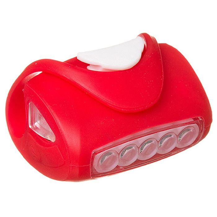 Фонарь велосипедный передний STG BC-RL8010, 5 диодов, силиконовый, цвет красный