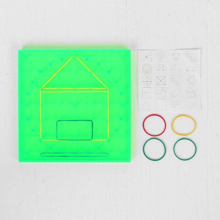 Геоборд, 14.5 × 14.5 см, цвет зелёный, в комплекте резиночки 4 шт..