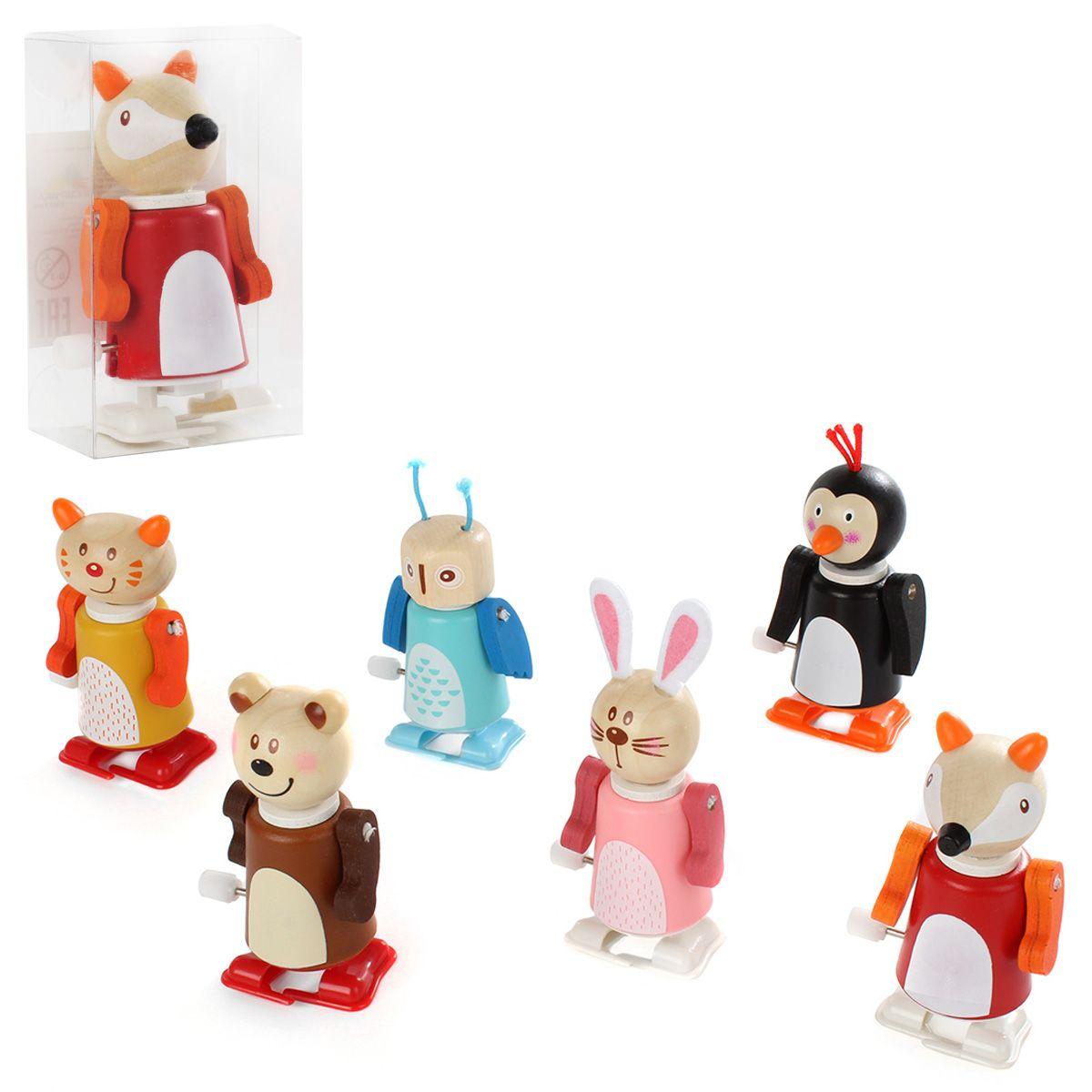 """Заводные деревянные игрушки """"Забавные животные"""", в ассортименте"""