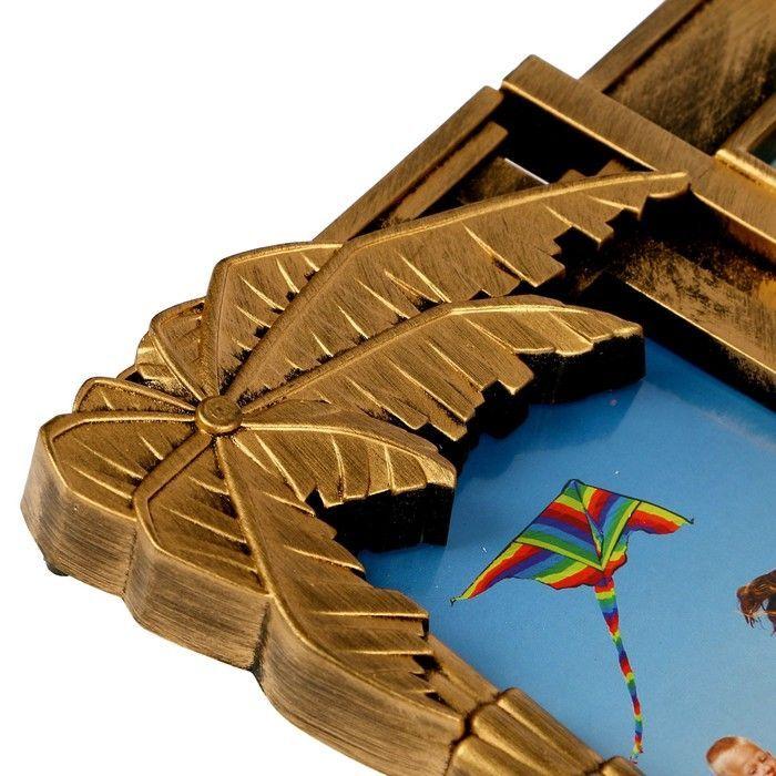 """Фоторамка пластик на 9 фото 10х10, 10х15 см """"Домик у моря"""" тёмное золото 36,5х67х2 см"""