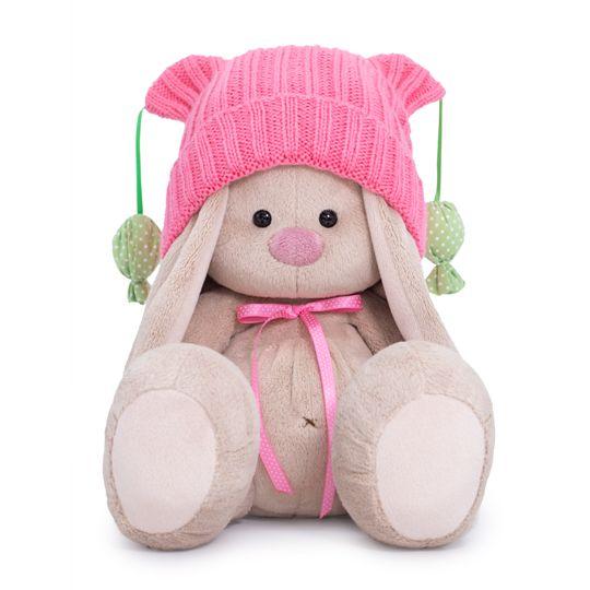 """Мягкая игрушка """"Зайка Ми в розовой шапочке с помпонами"""", 23 см"""