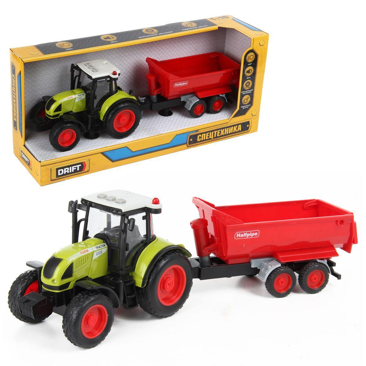 Трактор с прицепом FARMLAND 1:16, фрикц.механизм, со зв. и св.